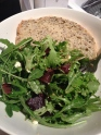 Goat cheese salad with fresh seeded bread